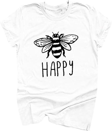 Women Cotton Round Neck Bee Print T-shirts Short Sleeve Plus Size Summer Blouse