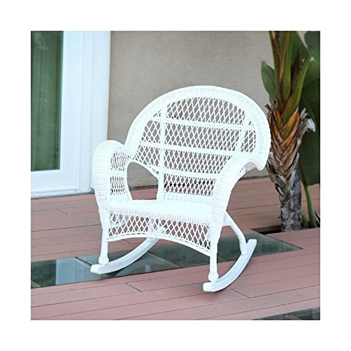 Pemberly Row Rocker Wicker Chair in White