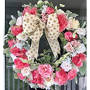 Summer Grapevine Wreath Full of Peonies, Roses, Front Door Wreath, Wreath for Front Door, Indoor Outdoor Wreath, Free Shipping, SALE 5