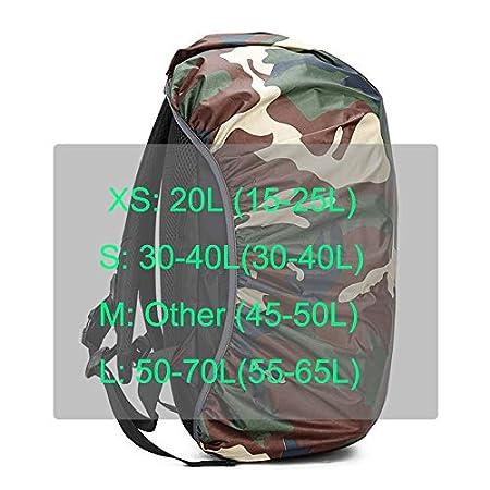 F-Jiujin Mochila Cubierta de Lluvia Mochila Camo Ej/ército Militar Bolsa Impermeable Caza al Aire Libre Viaje Funda a Prueba de Polvo Plegable 20L 30L 40L 45L 50L 55L 60L Color : Blue, Size : 20L