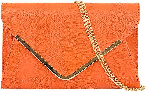 H&G Ladies Animal Print Croc Flat Envelope Evening Clutch Bag - Orange Orange