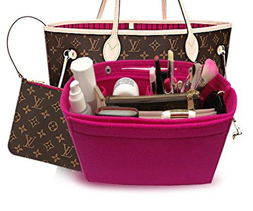 LEXSION Felt Fabric Purse Handbag Organizer Bag - MultiPocket Insert Bag Rosy - Mk Bag Clear