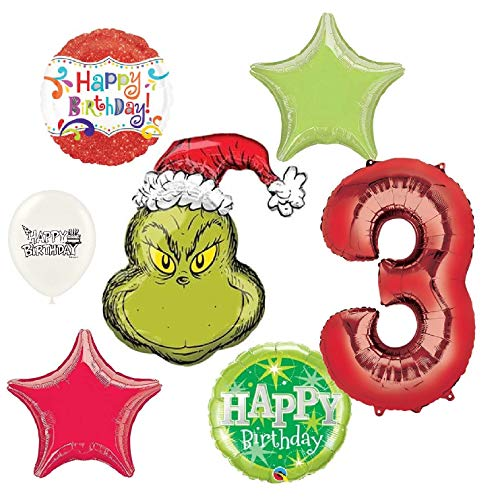 The Grinch Wishes You a Happy 3rd Birthday Party Decorations Balloon Bouquet Bundle ()