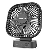 OPOLAR 5200mAh Battery Operated Fan Timer, 7 Blades, Super Quiet, 3 Speeds, Powered USB Rechargeable Battery, 5-40 Hours Working Time, Perfect Small Personal Desk Fan Office & Outdoor