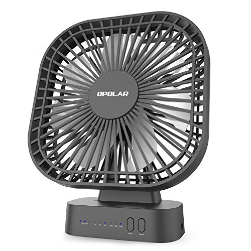 OPOLAR 5200mAh Battery Operated Fan Timer, 7 Blades, Super Quiet, 3 Speeds, Powered USB Rechargeable Battery, 5-40 Hours Working Time, Perfect Small Personal Desk Fan Office & Outdoor by OPOLAR