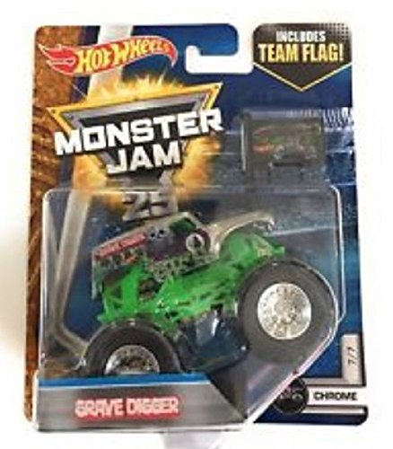 Hot Wheels Monster Jam Grave Digger with Team Flag Chrome 7/7 1:64 Scale Truck (Hot Wheels Monster Jam Grave Digger 30th Anniversary)