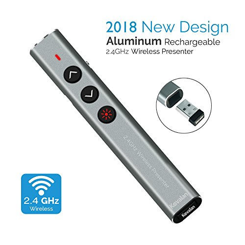 Apple Pointers Pointer (Kavalan Aluminum 2.4G Rechargeable Wireless Presenter, Remote Clicker with Red Pointer, Mac Keynote and Windows PowerPoint PPT Clicker, Office Presentation Pointer_Grey)