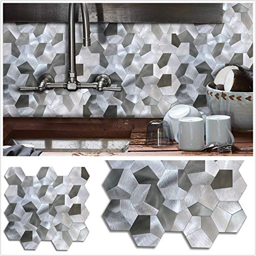 """12""""x12"""" Hexagon Puzzle Peel and Stick Tile Metal Backsplash for Kitchen Bathroom Stove Walls Self-Adhesive Aluminum Surface Metal Mosaic Tiles 3D Wall Sticker 5 Pack"""