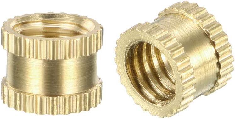Pack of 100 Female Thread Brass Embedment Nuts OD uxcell Knurled Threaded Insert L M4 x 4mm x 5mm