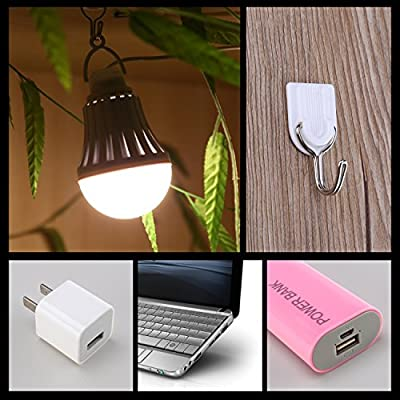 Dimmable Portable USB LED Bulb Camping Tent Light Emergency Light 5W Warm White for Garage Warehouse Car Truck Fishing Boat Outdoor Activities Hiking