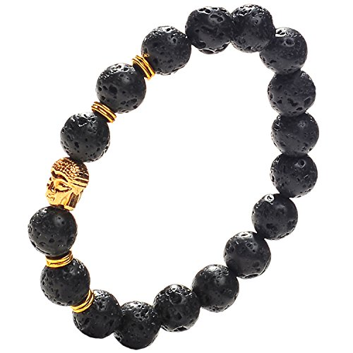Price comparison product image Earth Therapy Buddha Root Chakra Lava Rock Bracelet - Gold Plated Volcanic Lava Healing Buddha Bracelet for Men, Women, and Yogis
