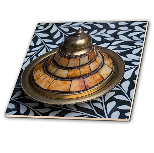 3dRose Danita Delimont - Decor - Morocco. Covered brass bowl with camel bone inlay on stone inlay table - 12 Inch Ceramic Tile ()