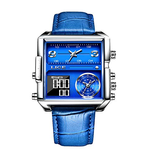 Alloy Creative Dial Roman Scale Belt Classic Calendar Strap Men's Watch Gift for Father's Day (Blue)