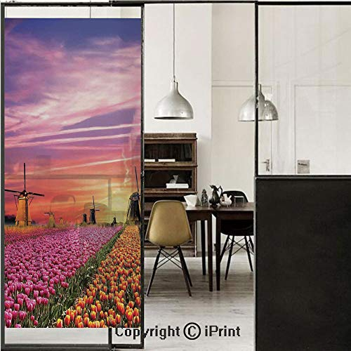 Nature 3D Decorative Film Privacy Window Film No Glue,Frosted Film Decorative,Tulip Fields and Windmills in European Landscape with a Sunset Sky View,for Home&Office,23.6x59Inch Orange Pink Purple