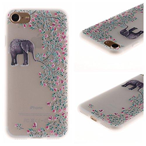 Funda iPhone 7,XiaoXiMi Carcasa de Silicona TPU Suave y Esmerilada Funda Ligero Delgado Carcasa Anti Choque Durable Caja de Diseño Creativo - Flores de Datura Flores de Elefante