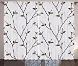 Ambesonne Leaves Decor Collection, Branches in the Fall Trees Stem Twig with Last Few Leaves Minimalistic Design Art, Living Room Bedroom Curtain 2 Panels Set, 108X84 Inches, Brown Gray