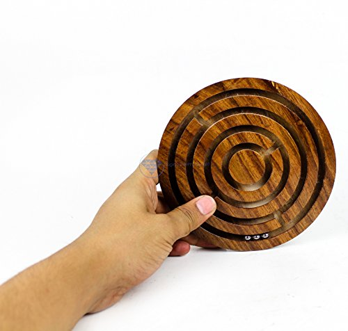 Nagina International Ball in A Maze Puzzle Board Game | Premium Hand Crafted Wooden Labyrinth Kid's Table Game | Wooden Toys & Craft (Large)