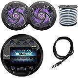 Lanzar AQR80B Round Aquatic Waterproof Marine Stereo In Dash Bluetooth Receiver - Black, 2x Pyle PLMRS63BL 6.5 Marine 2 Way 240 Watts LED Black Speakers, Enrock 18g Speaker Wire, 40 Antenna