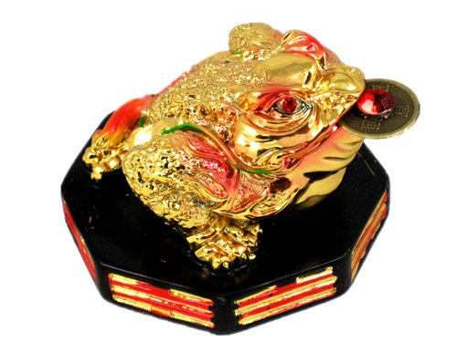 Feng Shui Mini Three Legged Wealth Frog (Money Frog or Money Toad) on a Wood Bagua Base to Attract Wealth and Good Luck