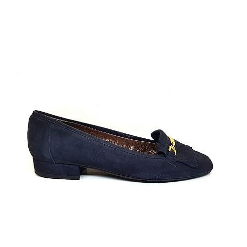 GENNIA CERRON Marino - Mocasines para Mujer de Piel Ante y con Mini Tacón de 1 cm: Amazon.es: Zapatos y complementos