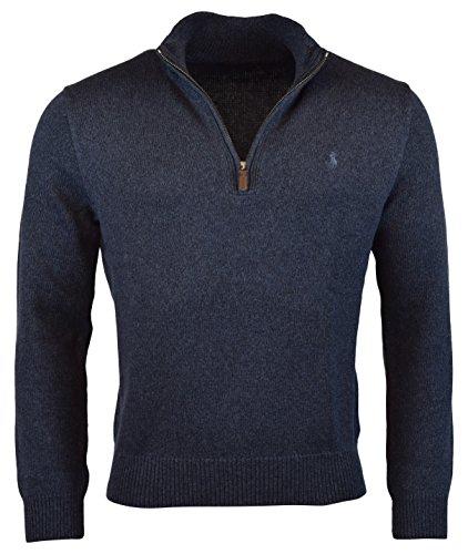 Polo Ralph Lauren Mens Half-Zip Mockneck Sweater, XL, Navy