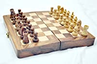 "Kimaro 7"" Magnetic Form Fitting Folding Wooden Travel Chess Set - 7 in x 7 in - With Wood Pieces in Case - Handmade"