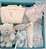 New Baby Luxury Keepsake Box containing baby Wear: Shawl, Bootees, Babygrow, Teddy, Vest, Socks, Brush etc Beautiful Baby shower or New Baby Gift Blue (Blue)