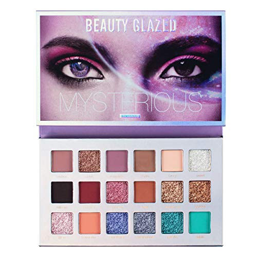 Beauty Glazed Mysterious Makeup Palette, 18 Colors Ultra Pigmented Fine Pressed Mercury Retrograde Eyeshadow Palette Mattes, Metallics, Glitter and Multi-reflective Powder Eye Shadow Palettes