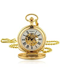 Akribos XXIV Men's AK609YG Bravura Vintage Mechanical Skeleton Chain Pocket Watch