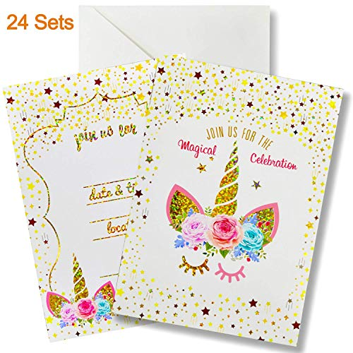 24 Pack Glitter Large Unicorn Invitations Cards Set with Envelopes, Party Supplies for Kids Birthday Baby Shower, Double Sided