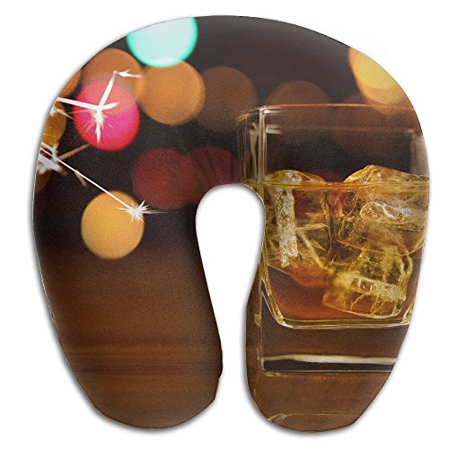 Godfery U-Shaped Pillow Neck Shoulder Body Care Whisky Printed Health Soft U-Pillow For Home Travel Flight Unisex Supportive Sleeping