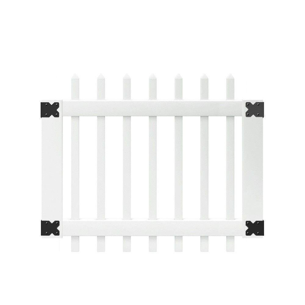 3.5 ft. W x 3 ft. H Traditional White Vinyl Unassembled Spaced Picket Fence Gate Kit