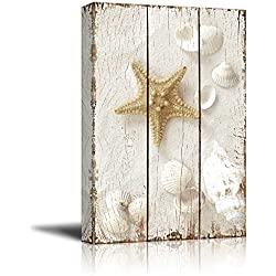 Wall26 - Star Fish and Sea Shells on the Sand Over White Wooden Panels - Nature - Canvas Art Home Decor - 12x18 inches