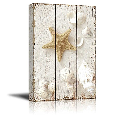Wall26 - Star Fish and Sea Shells on the Sand Over White Wooden Panels - Nature - Canvas Art Home Decor - 12x18 (Sea Shell Art)