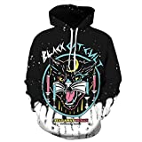 Men's Long Sleeve 3D Digital Print Black Cat Lover's Design Sports Pullover Hoodies(XXL,colorful)