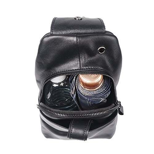 Retro Multipurpose Men's Suitable Chest Bag Black Use Leather Messenger Waterproof For Asdflina Zipper Shoulder Everyday dz5wd