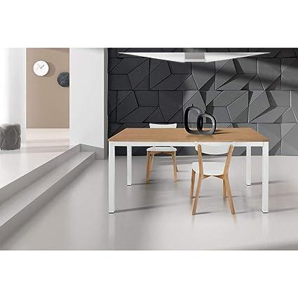 MilaniHome Tavolo da Pranzo Moderno di Design Allungabile Cm 80 X 140/200  Rovere Struttura Bianca Piano Naturale per Sala da Pranzo