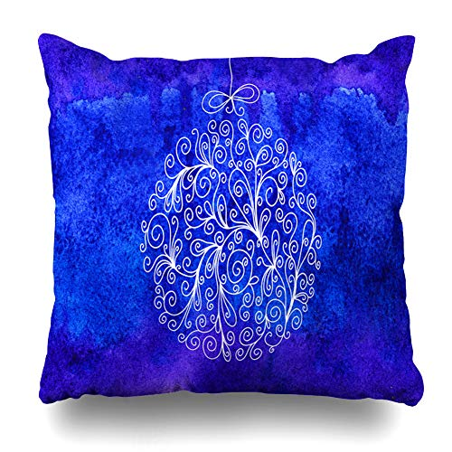 - Ahawoso Throw Pillow Cover Drawn Watercolor Baubles Christmas Ornamental Ball Om Blue Holidays Black Bow Brush Celebration Home Decor Zippered Pillowcase Square Size 18 x 18 Inches Cushion Case