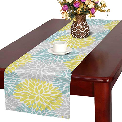 InterestPrint Dahlia Pinnata Flower Yellow Light Blue and Gray Table Runner Cotton Linen Cloth Placemat Home Decor for Home Kitchen Dining Wedding Party 16 x 72 Inches