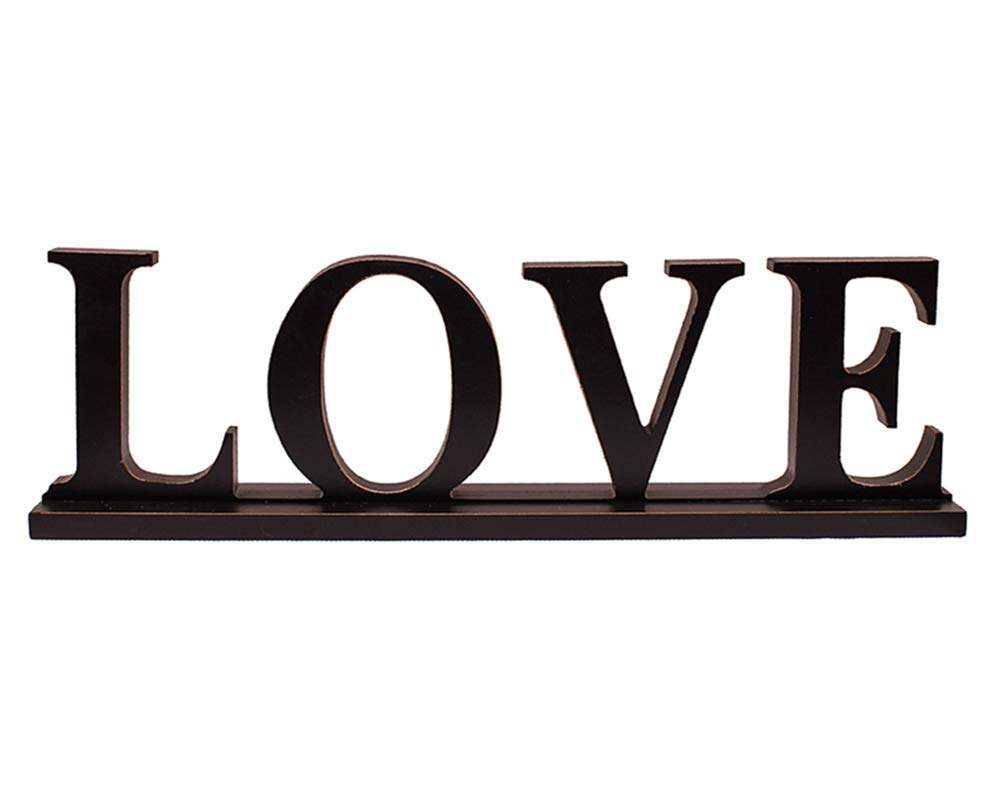 YK Decor Wooden Letter Love Sign Table Top Love Centerpiece Freestanding Wood Sign for Home Decor