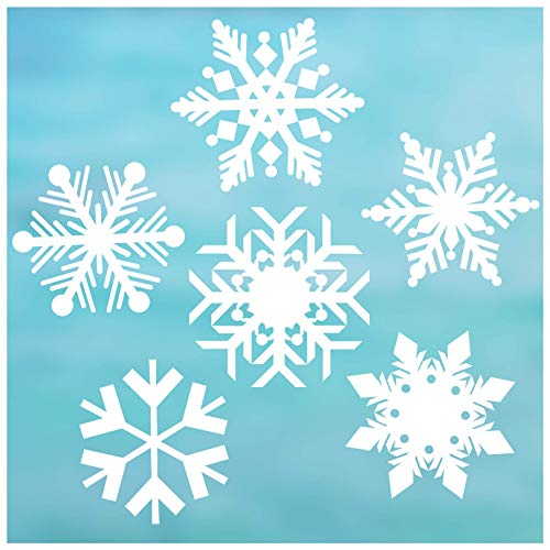 """6 Snowflake Window Cling Christmas Decorations, 6"""" Snowflakes, Reusable White Snowflake Window clings/Snowflake Window Decals. 6"""" Snowflake Window Cling/Window Decal Holiday décor."""