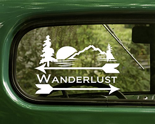 2 Wanderlust Nature White Decal Sticker For Window Car Truck Jeep Laptop Bumper Rv
