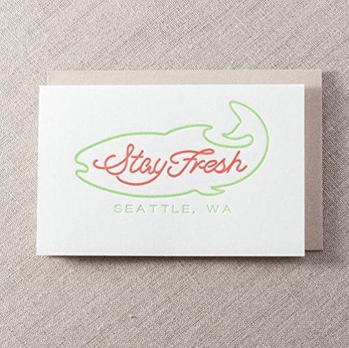 a960bd9e101a Amazon.com  Stay Fresh Seattle Fish Letterpress Greeting Card  Handmade
