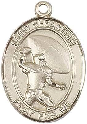 14kt Gold St. Sebastian / Football Medal. Patron Saint of Athletes/Soldiers