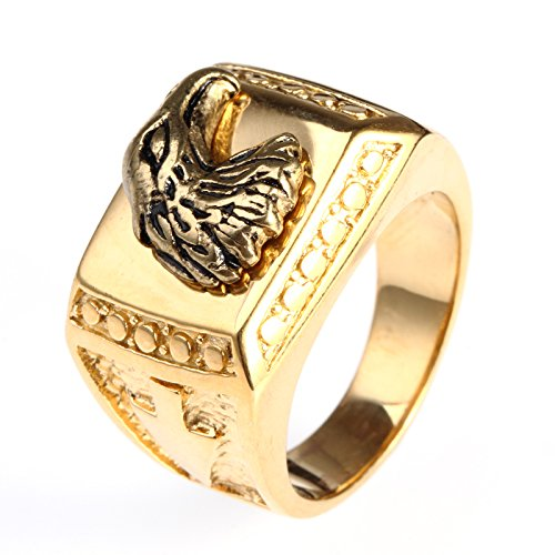 HIJONES Men's Polished Stainless Steel Biker Ring with Eagle Engraved in Front, Gold Size 12