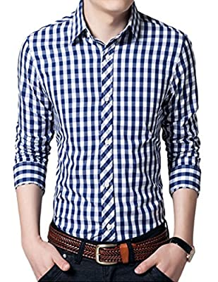Liveinu Men's Casual Plaid Checked Long Sleeve Button Down Dress Shirt