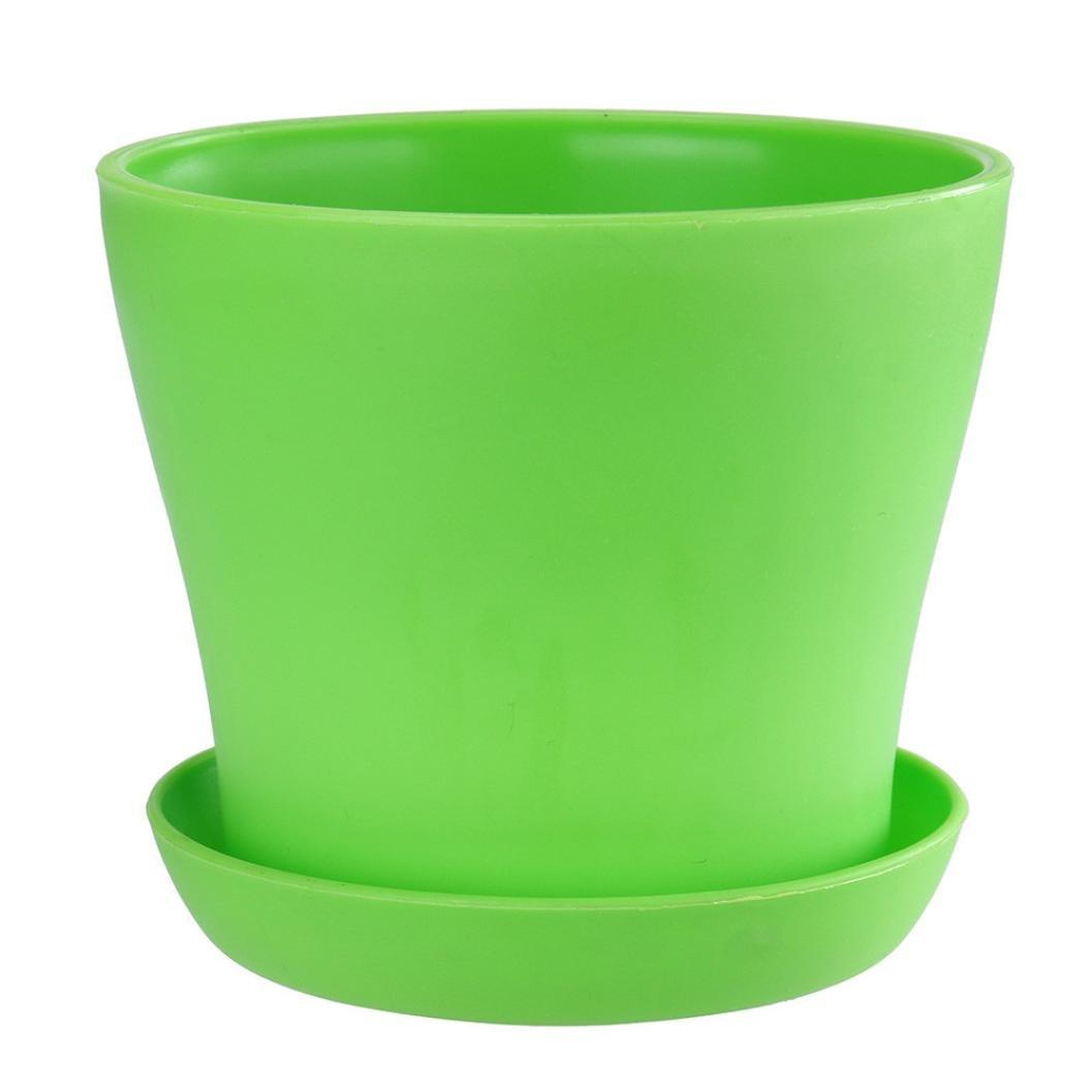 Colourful Mini Plastic Flower Pot Planter Succulent Plant Flowerpot Home Garden Office Decor (Green)