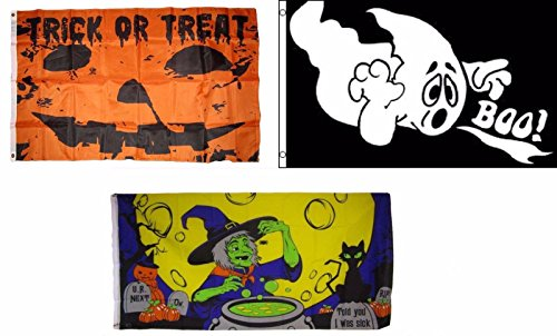 ALBATROS 3 ft x 5 ft Happy Halloween 3 Pack Flag Set #162 Combo Banner Grommets for Home and Parades, Official Party, All Weather Indoors Outdoors