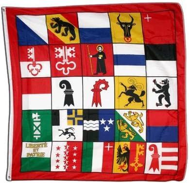 120 x 120 cm Sticker Gratuit Digni Drapeau Suisse 25 cantons