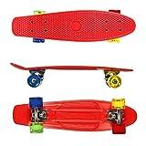 RockBirds Complete Skateboards, 22' Plastic Cruiser Skateboard, High Speed for Kids Boys Youths Beginners, Red